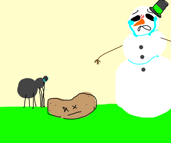 Snowman and spider cry at dead potato
