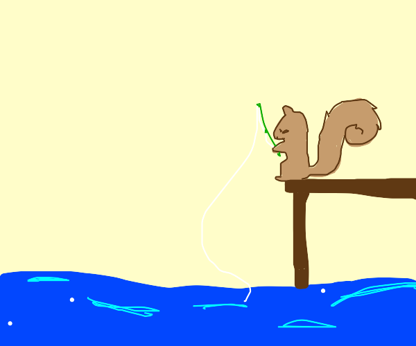 Squirrel fishing in swamp