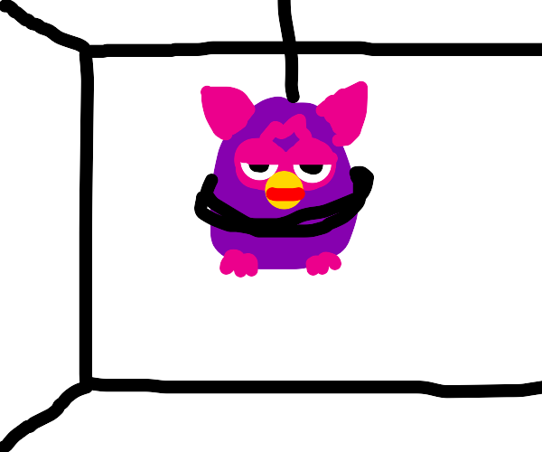 Furby hanging on ceiling
