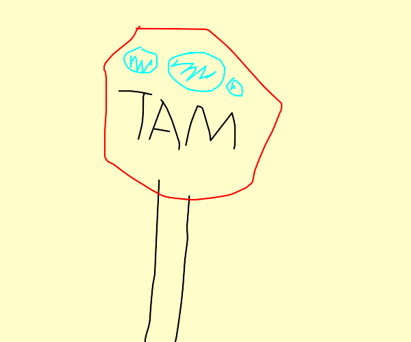 a red sign saying tam with blue lights on top