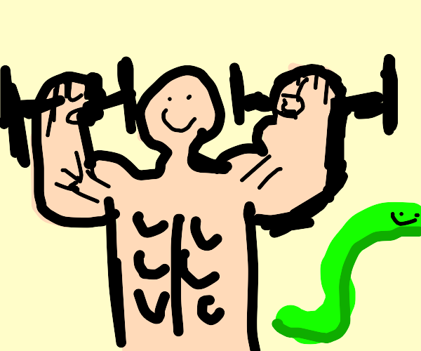 muscular man and snake