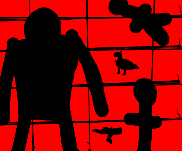 silhouettes in front of a brick wall