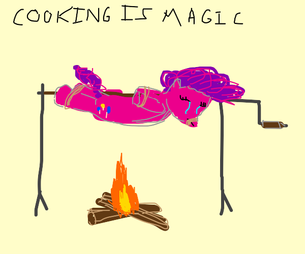 crying pinkie pie over a campfire
