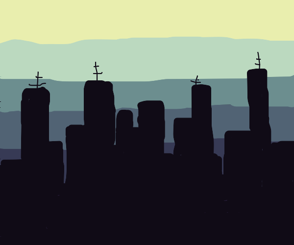 City silhouette at night