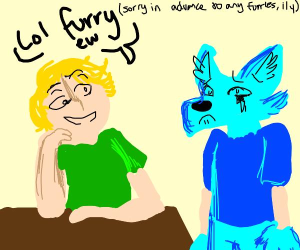 Man making fun of furry