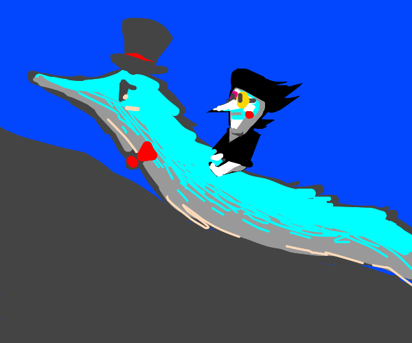 Spamton riding a fancy british worm up a hill