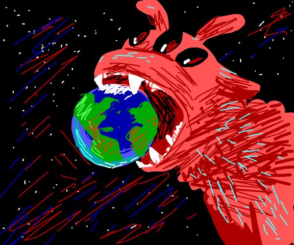 Red 3-eyed world-devouring alien