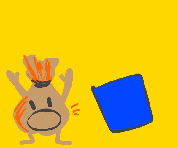 bag man alarmed by blue square