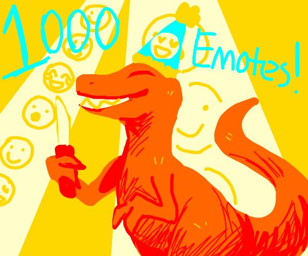 Dinosaur with a knife (1k Emote Party?)