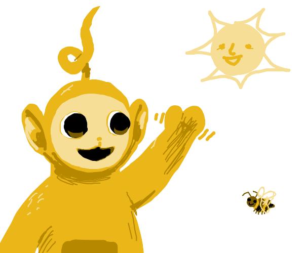 Lala the telethon has waving at a bee
