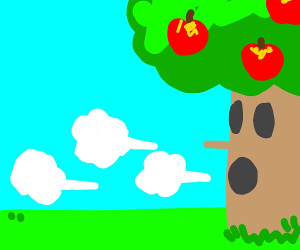 apple tree blowing hard