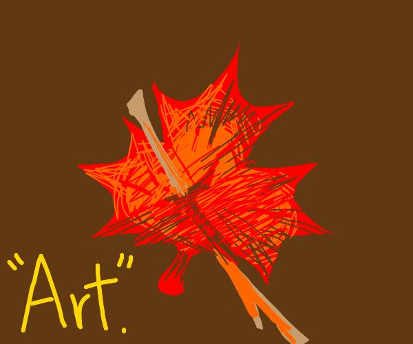 Stick in a leaf calls itself art