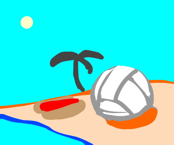 Volly Ball on vacation, with a hot dog