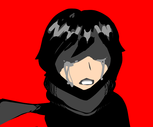 girl with scarf cries