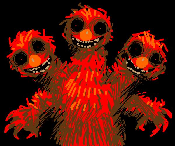 Three headed elmo monster