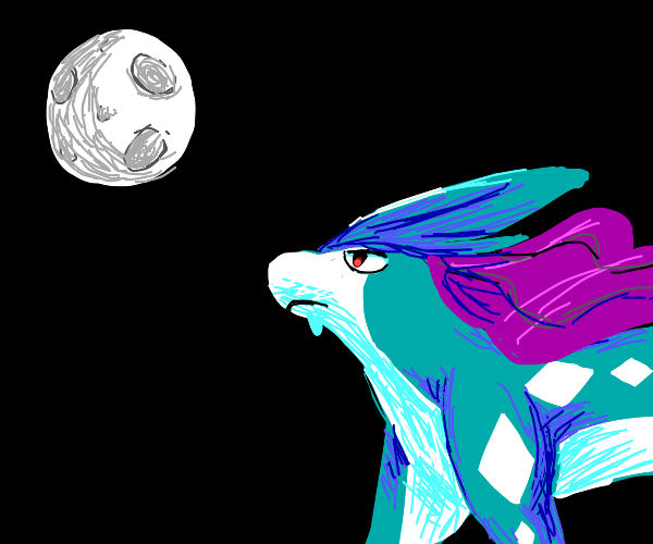 Suicune watching the full moon