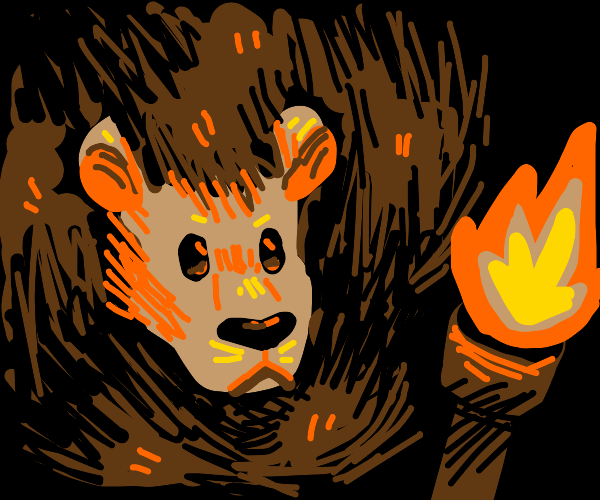 Lion staring at a torch