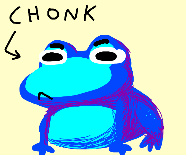 The blue C H O N K frog