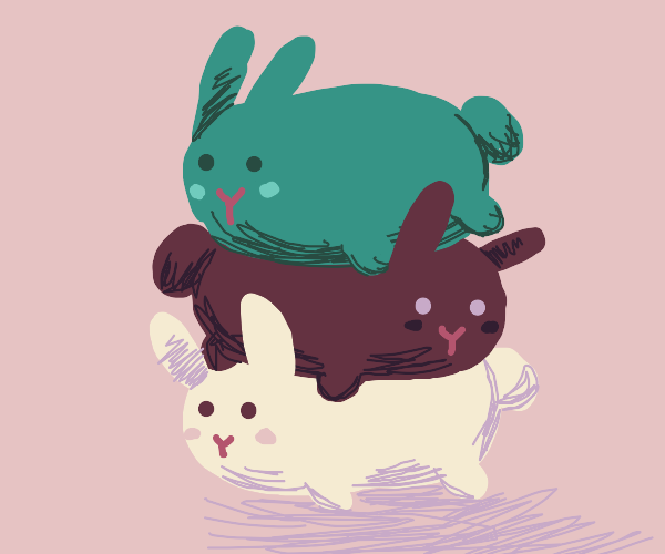 Stack of tsum tsum style bunnys