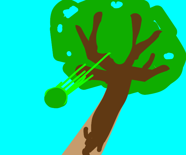 pea falling out of a tree