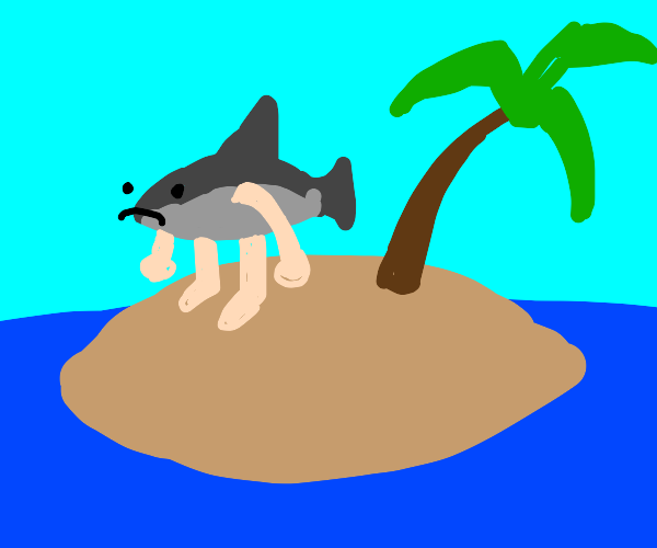 Shark with arms and legs on a desert island