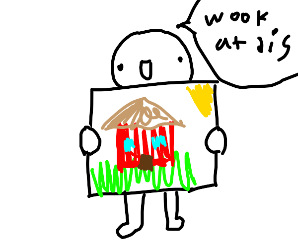 little boy shows you drawing of house