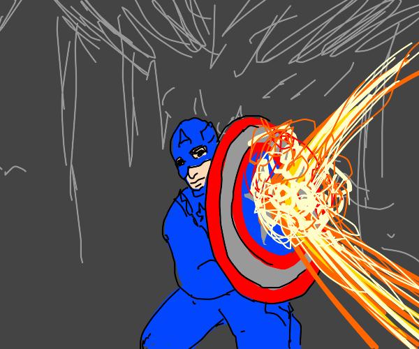 captain america deflects fireball off shield