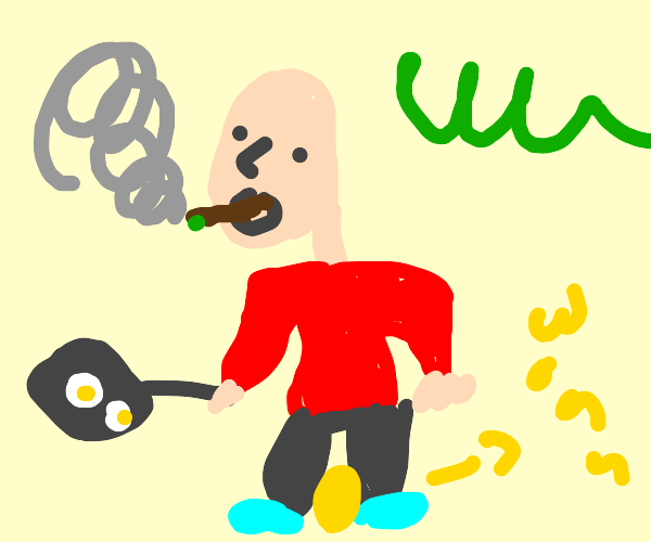 A bald man smoking a blunt while making eggs
