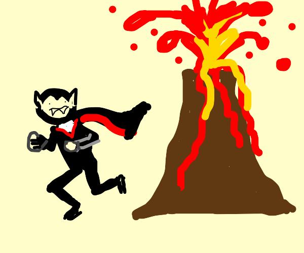 vampire running from volcano