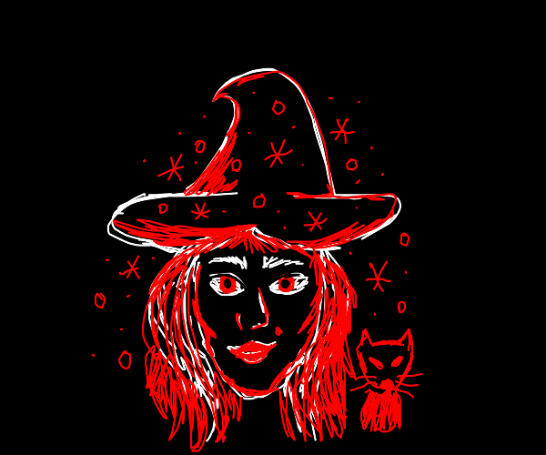 A red witch in the forest with her red cat