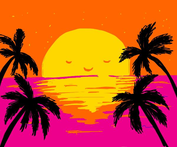 Happy sun sets over ocean
