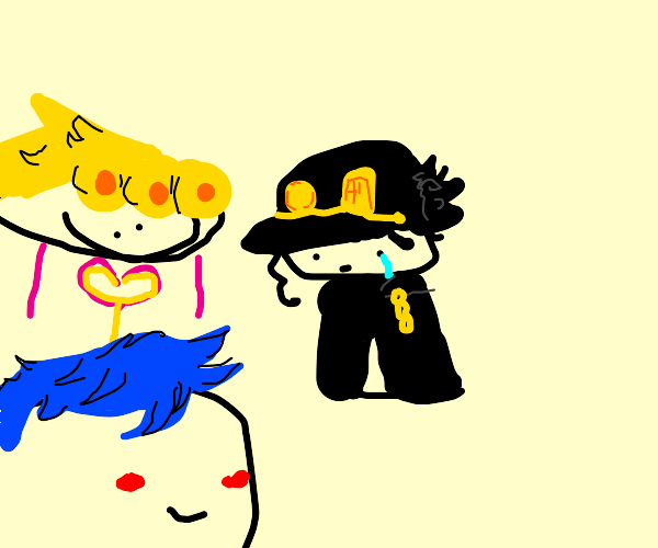 Giorno with military hat jojo and other jojo