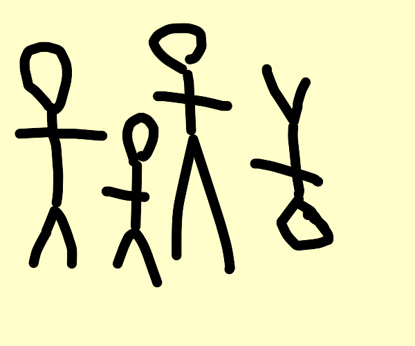 A group of stick figures, one is upside down