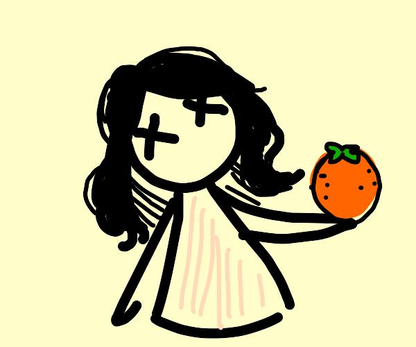 dead girl with an orange