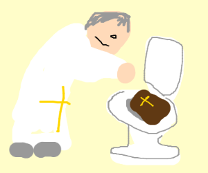 Priest putting bible in the toilet