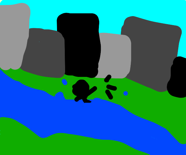 stickman has fallen into a river in some city