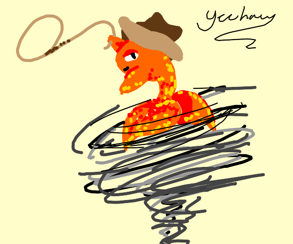 Fish riding a tornado