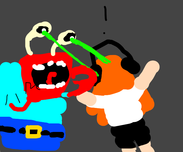 Splatoon girl gets attacked by Mr.Krabs Laser