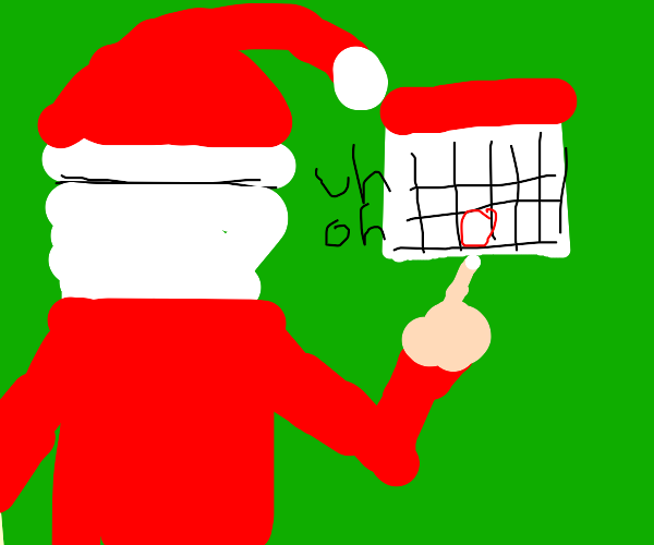 Santa sees the calandar and goes 'uh oh'