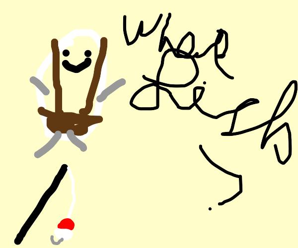 Humpty Dumpty has lost his fishing rod