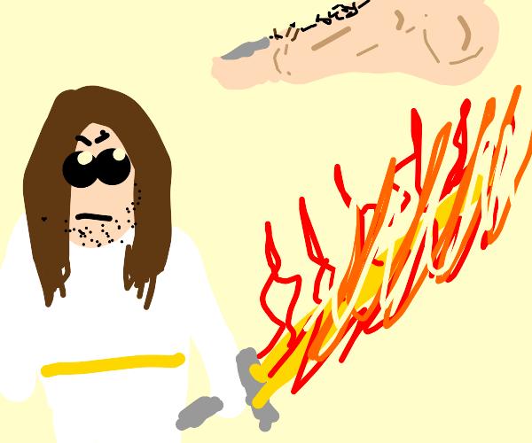 Jesus vs a giant foot