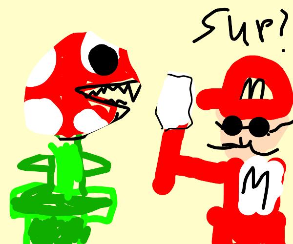 Piranha Plant ate Mario's right leg and arm