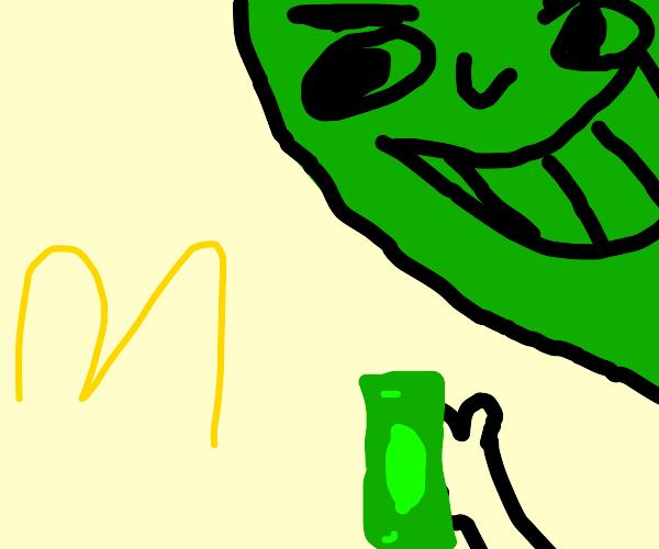 Green man trying to buy diabetes