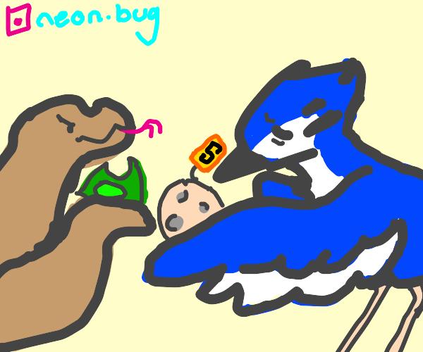 Bluebird sells its egg to a boa