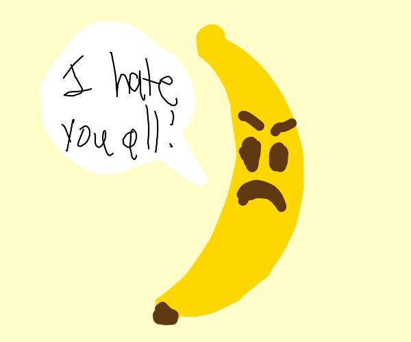 banana with angry emoji face
