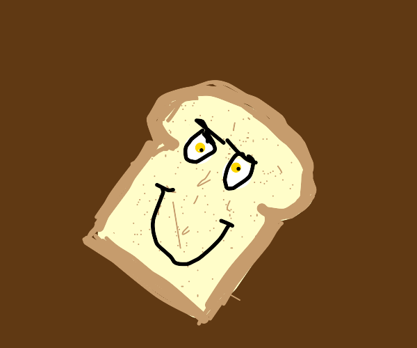 Smiling piece of white bread