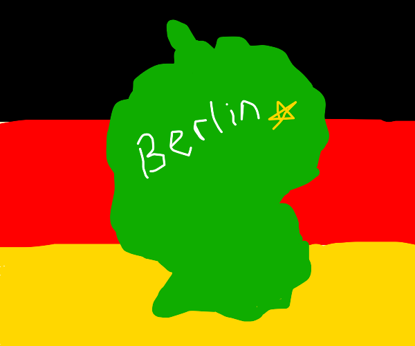 A map of germany with berlin and its flag