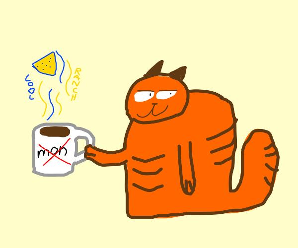 garfield drinking dorito hot chocolate