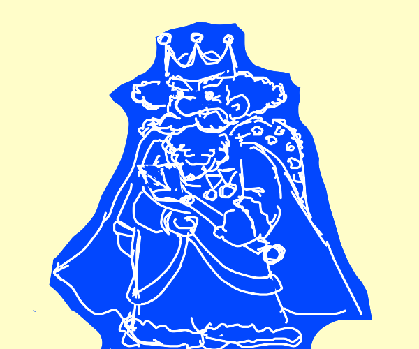 A blue kings outline filled in with blue.