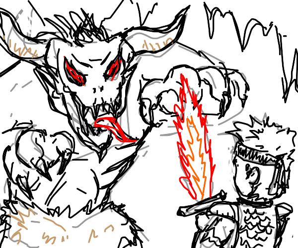 guy with fire sword battles giant demon